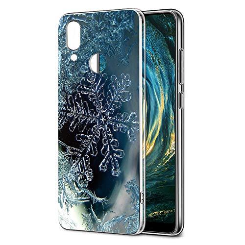 Cover Huawei P20 Lite, Eouine Custodia Cover Trasparente con Natale Disegni Ultra Slim TPU Silicone Morbido Antiurto 3D Cartoon Bumper Case per Huawei P20 Lite Smartphone (Fiocco di Neve)