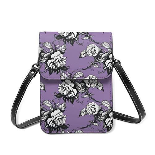 Small Cell Phone Bag Purse Wallet Floral Peonies Travel Handbag with Card...