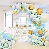 Ballongirlande Kit Luftballons Girlande, 126 Stück Geburtstag Party Dekoration, Macaron Mint Blue Latex Ballons, 4D Folie Luftballons mit Ballonkette für Babyparty, Hochzeit, Jubiläumsdekoration