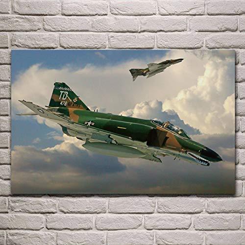 UHvEZ Combattente Bombardiere Aereo Fantasma Soggiorno Militare Camera da Letto Famiglia Wall Art Decorazione Struttura in Legno Poster di Stoffa murale Frameless 50cmx75cm