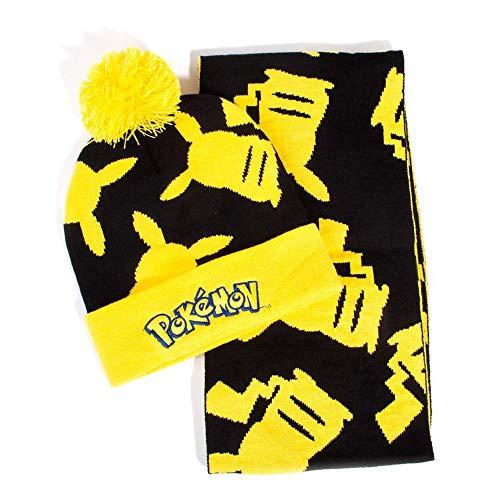 Difuzed Pokemon Pikachu Silhouette Bobble Beanie & Scarf Gift Set Ensemble Bonnet, Écharpe Et Gant, Noir (Black Black), Taille Unique Mixte