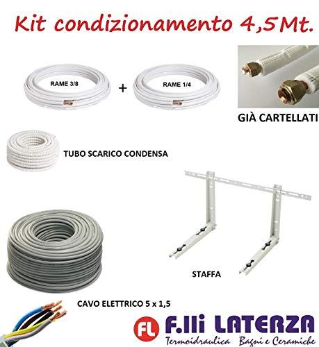 Kit de instalación de aire acondicionado climatizador 4,5 m tubo cobre 1/4' 3/8' soporte