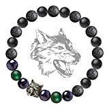 Made of lead-free brass, the wolf head charm is environmentally friendly electroplated with a layer of antique silver which is able to stand for long-time wearing. Perfect hair detail, green zircon eyes decorated and hollow-out wolf tooth mark at the...