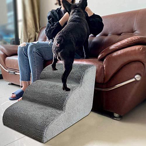 Escaleras de esponja de alta calidad para perros de 3 peldaños escalera para perros pequeños, medianos y grandes, escalera de ayuda para escalar mascotas para cama alta o sofá