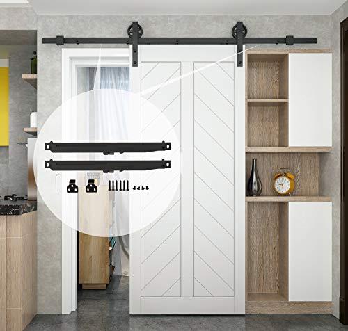 DIYHD 8FT Two-Side Soft Close/Soft Open Industrial Wheel Sliding Barn Wood Door Interior Closet Door Kitchen Door Track Hardware