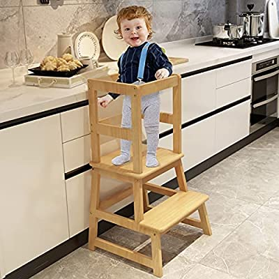 Popin Lover Kitchen Helper Stool for Kids and Toddlers with Safety Rail, Kids Step Stool Learning Stool Tower for Bathroom& Kitchen