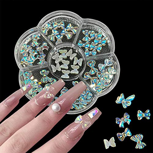 3D Butterfly Bow Nail Studs Decoration Decals 42 Pcs Butterfly/Bow Designs for Women's Girls Holiday Nail Art Decoration Accessories