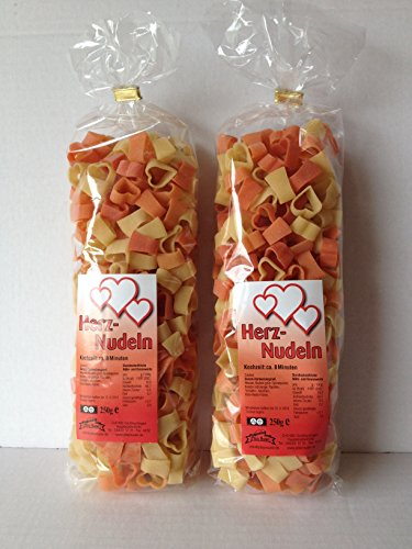 Motivnudeln Nudeln Pasta 2er Pack 250g Durum Hartweizengrieß (Herz 2er Pack)