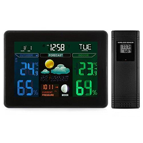 Stazione Meteo con Sensore Esterno, Stazione Meteo Wireless Digital Colour Forecast Stazione Meteo Indoor Outdoor Termometro con Allarme e Temperatura
