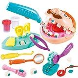 Rompecabezas para niños Barro de Color Pequeño Dentista Casa de Juego Ambiental Juego de Herramientas de Molde de Arcilla de extracción de Arcilla plástica (Multicolor) -BCVBFGCXVB