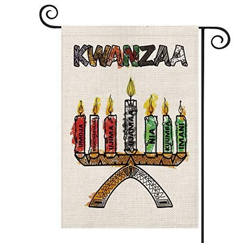 AVOIN Kwanzaa Kinara Candles Garden Flag Vertical Double Sized, African Unity Self-Determination Collective Cooperative Purpose Creativity Faith Yard Outdoor Decoration 12.5 x 18 Inch