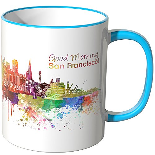 WANDKINGS® Tasse, Schriftzug Good Morning San Francisco! mit Skyline - BLAU