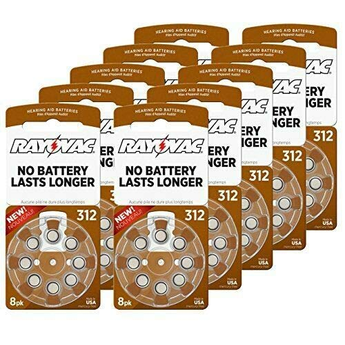 Rayovac 312 Extra Advanced Mercury Free Hearing Aid Batteries 80 Pack