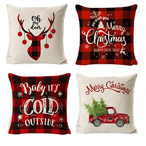 Christmas Throw Pillow Covers, 18x18 Inch Red Black Plaid Pillow Cases Reindeer Rustv ic Truck Christmas Pillow Covers for Xmas Home Decorations