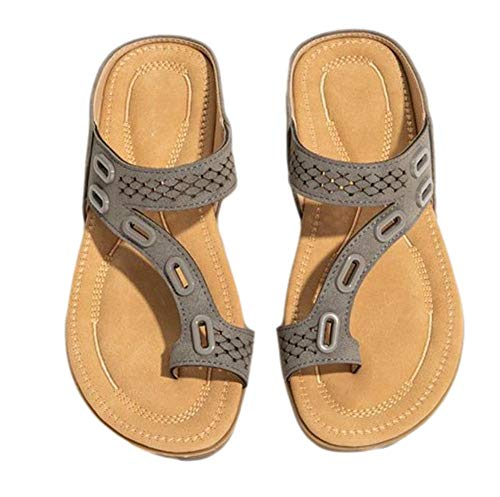 TAIYANYU Orthopedic Slippers,Women Orthopedic Comfy Premium Summer Slippers with Arch and Heel Support for Help Relieve Plantar Fascitis Sandals 36 Khaki