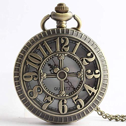 XXCHUIJU Triángulo de Bronce Retro Los Sillones Lord Analog Cuarzo Reloj de Bolsillo Collar Collar de Collar para Hombres Mujeres Niños