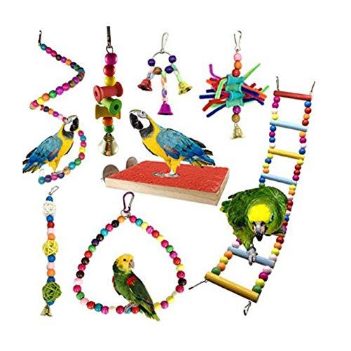 JZK 8 x Giochi per Uccelli pappagalli Uccello Giocattolo da Masticare Altalena Appesa Giocattoli Gabbia per i Piccoli e Uccelli Medi parrocchetti Cockatiels Macaws Parrots Love Birds