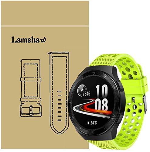 SkyBand Respirable Deporte Silicona Clásico Correas para Smartwatch Huawei Watch GT 2e (Verde)