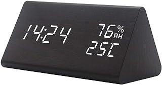 Reloj de alarma de madera alarma LED digital Temporizador electrónico Temperatura Humedad Pantalla 3 niveles Brillo ajustable Control de sonido Mudo Alimentación dual ideal para la decoración del hogar del dormitorio