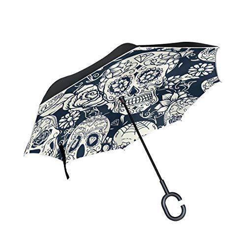 ISAOA Doppelschichtiger umgekehrter Regenschirm, selbststehend und innen außen, Auto-Regenschirm, Tag der Toten, Zuckerschädel mit Blumen-Ornament und Blume, Winddicht, regenverkehrter Regenschirm