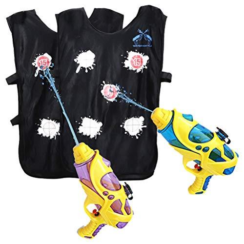 Mgsiko Pistola de agua, juego de 2 juguetes de pistola de agua, chaleco activado por agua, para niños y adultos, para fiestas, playa, jardín, piscina, juguete de baño