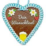 Individuelles Lebkuchenherz 21 x 22cm mit Wunschtext online konfigurieren - Farbe: blau-weiß - bayrische Deko mit Bierkrug und Edelweiß - persönliches Wiesn-Geschenk