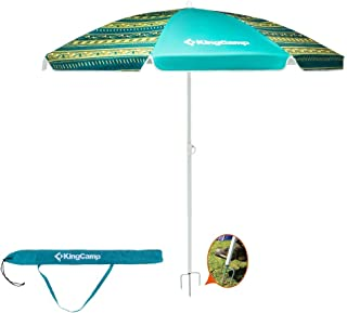 KingCamp Beach Umbrella, 5.9 x 5.9 ft Outdoor Table Umbrella with Metal Sand Anchor, Adjustable Height, UPF50+ Jacquard Sun Shelter for Summer Vacation, Camping, Picnic, Fishing