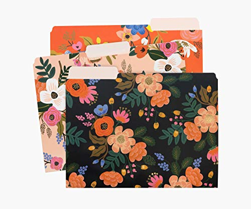 Rifle Paper Co. Lively Floral Assorted File Folders, Stay Organized with Our Stylish and Sturdy File Folders, Set of 6 Folders Includes 2 of Each Design and 12 Handy Adhesive Labels