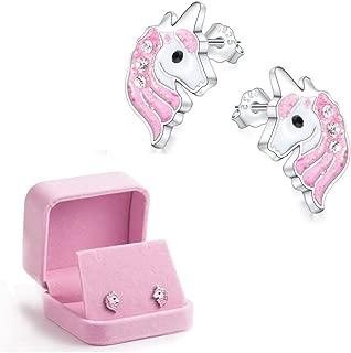 Binoster Einhorn Ohrstecker Hell-Pink Funkelnd mit Zirkon zum Kleine Mädchen Kinder Schmuck Geburtstag Party Weihnachten Geschenke (Unicorn)