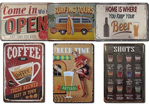 Chapas Decorativas Vintage [ Bar, Cafetería, Restaurante, Cocina ] Pack de 6 Chapas con Relieve | Placas Metálicas Retro para Pared | 20x30 cm
