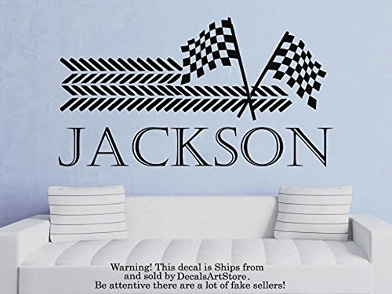 Racing Car Wall Decals Personalized Name Race Vinyl Decal Sticker Custom Decal Checkered Flags Baby Boy Name Home Decor Nursery Baby Room Kids Stickers Children S Decor Art Mural SM193
