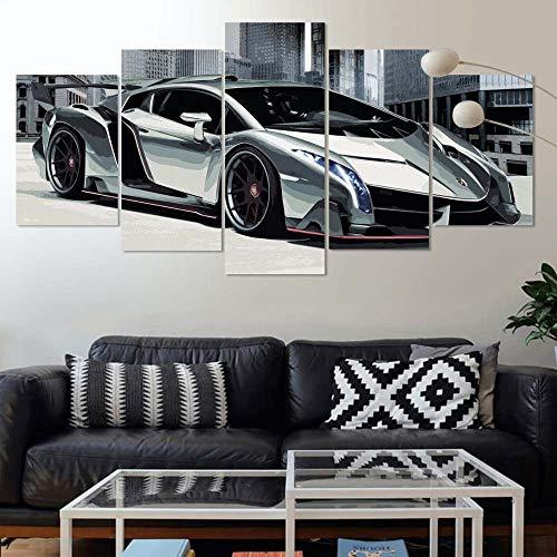 GIRDSSC Leinwandbilder 5 Teilig Lamborghini Veneno Specs Bild Auf Leinwand Kunstdruck Mehrteilig Modern Wandbilder Wohnzimmer Weihnachten Deko Fünfteilig Fertig Zum Aufhängen