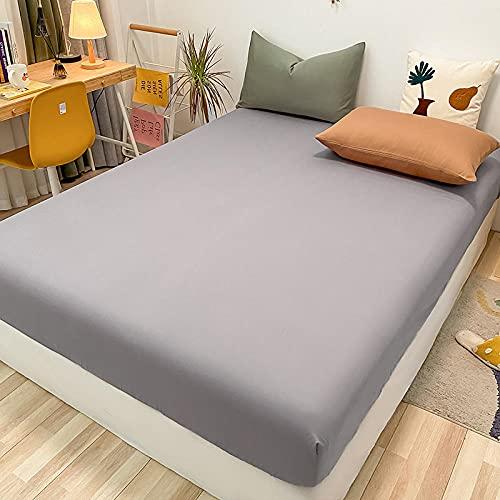 FJMLAY Sábanas ajustablesperfecto para el colchón, sensación Suave,Sábanas de algodón para Cama, Almohadillas Protectoras para dormitorios y Apartamentos-Grey1_120x200cm