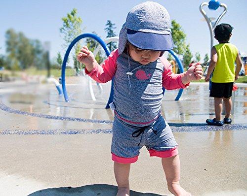 Twinklebelle Design Inc. 幼児用, ラッシュガ-ド,シャツ、ショットパンツ、セット、50+日焼予防 セットS 0-6m,ピンククジラ