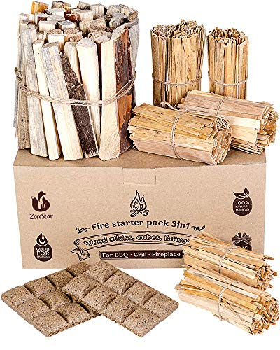 Fire Starters Box: kindling Wood Sticks + fire Starter logs (Similar fatwood) + Fat Wood Squares for Camping - Wood… 3