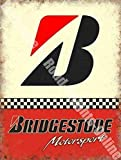 Bridgestone B Motorsport Neumáticos Carreras Coches Garaje Metal/Cartel Para Pared De Acero - 20 x 30 cm