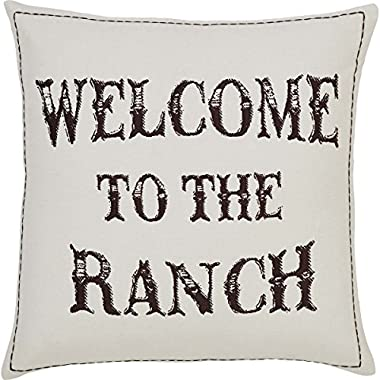 VHC Brands Rustic & Lodge Pillows & Throws - Welcome to the Ranch Tan Down 18  x 18  Pillow