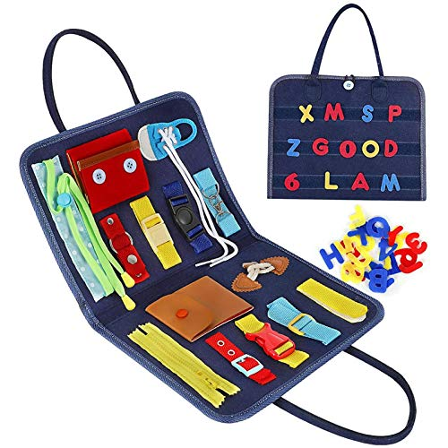 Busy Toddler Chart, Toddler Play Board, Foldable Sensory Board Fine Motor Skill Train Sensory Chart, Montessori Activity Toy Bag Educational Learning Toys Gift for Toddlers