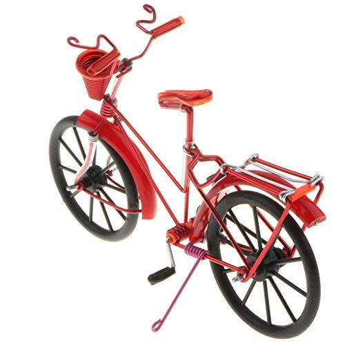 Fenteer 1:10 Diecast Deko Fahrrad mit Korb Geldgeschenk Dekoration - Rot