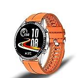Reloj Inteligente para Hombres, Reloj de Seguimiento de Actividad de Respuesta de Llamadas Bluetooth, Reloj Deportivo de Acero Inoxidable Resistente al Agua Adecuado para Android iOS-Silicona Naranja