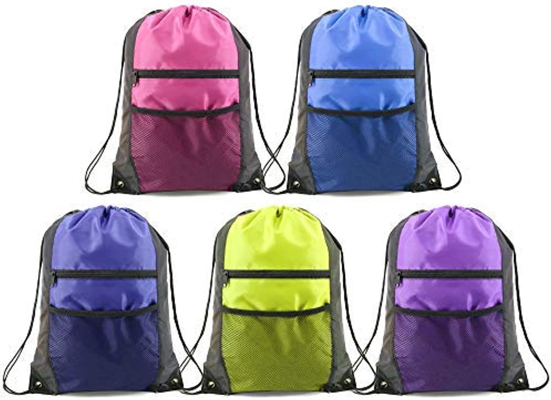 eec70d41d3ed Unisex Drawstring Bags Bulk 5 Pack, Sports String Bag Cinch Sackpack ...