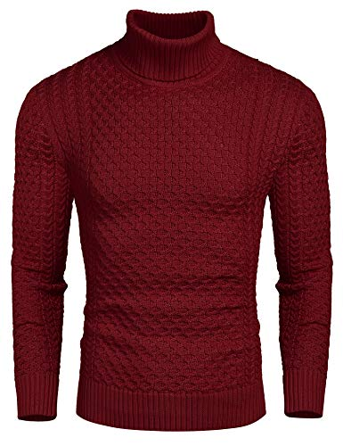 Coofandy Rollkragen Herren Strickpullover Pullover Slim Fit Winter Basic Sweater Mischen, Rot, S