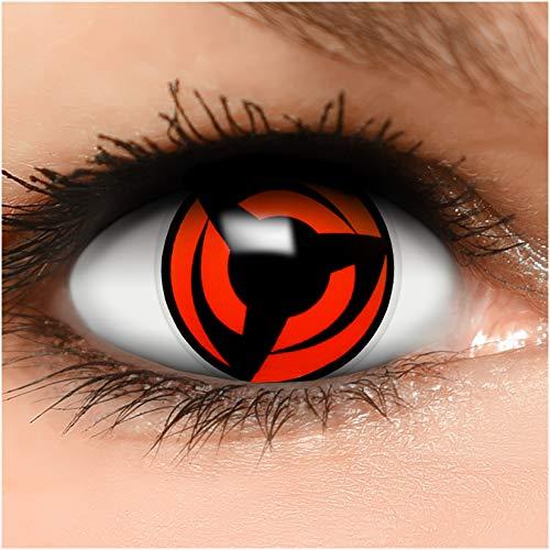Sharingan Kontaktlinsen Hatake Kakashi in rot inkl. Behälter - Top Linsenfinder Markenqualität, 1Paar (2 Stück)