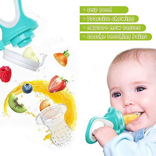 Fruchtsauger, Tinabless Schätzchen Schnuller Gemüse sauger für Schätzchen mit 3 Silikon Nippel Ersatz - 5
