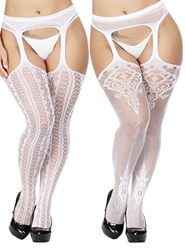 TGD Womens Plus Size Stockings Suspender Pantyhose Fishnet Tights Fashion Thigh High Stocking 2 Pairs (White 05)