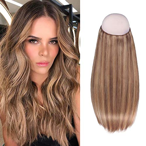 Sixstarhair Halo Hair Extensions Human Hair 16inch Premium Virgin Hair Highlight Chestnut Brown with Light Golden Brown Hidden Hair Extensions at Crown 100g per Pack [16inch P6-12]
