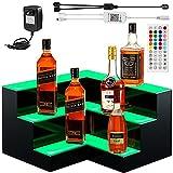 VEVOR Corner LED Liquor Bottle Display Shelf, 20-inch LED Bar Shelves for Liquor, 3-Step Lighted Liquor Bottle Shelf for Home/Commercial Bar, Acrylic Lighted Bottle Display with Remote & App Control