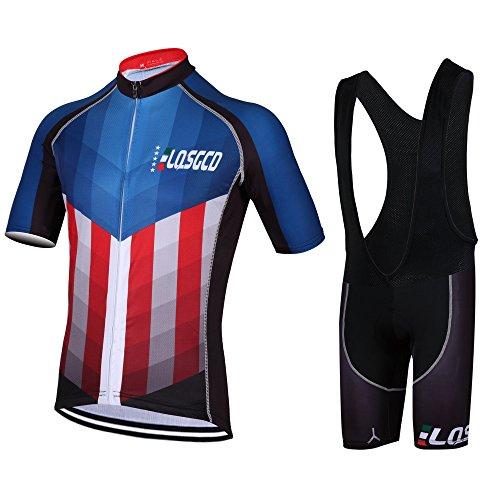 Feilaxleer Ropa Ciclismo Verano para Hombre y Mujer - Un Conjunto de Ciclismo Jersey Maillot y Culotte Pantalones Cortos (Halcón,XL)