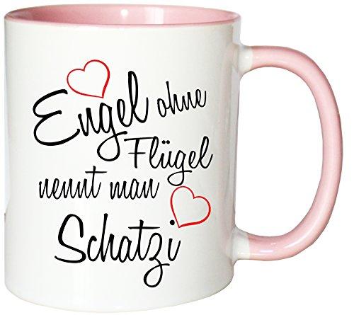 Mister Merchandise Kaffeebecher Tasse Engel ohne Flügel nennt Man Schatzi Frau Partnerin Ehefrau Wife Freundin Schatz Teetasse Becher Weiß-Rosa