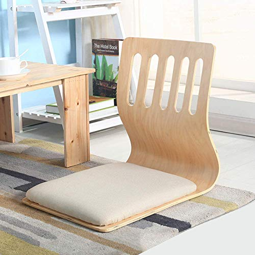 Folding Floor Chair, Japanese Padded Legless Floor Chair with Back Support Reading Watching Video-Gaming Meditation Chair-Wood Color